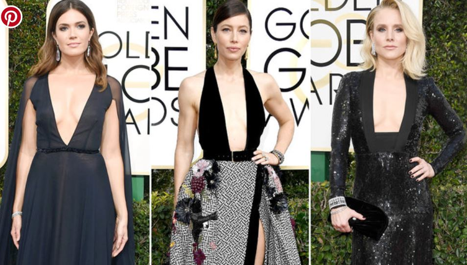 Hollywood plunging necklines