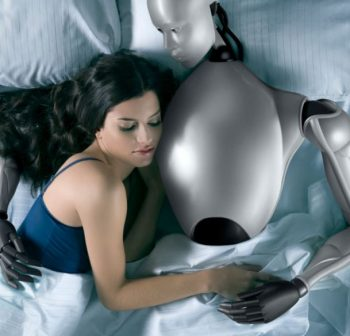 woman cuddling a sex robot in bed