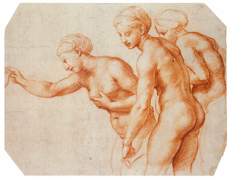 Raphael red chalk study The Three Graces