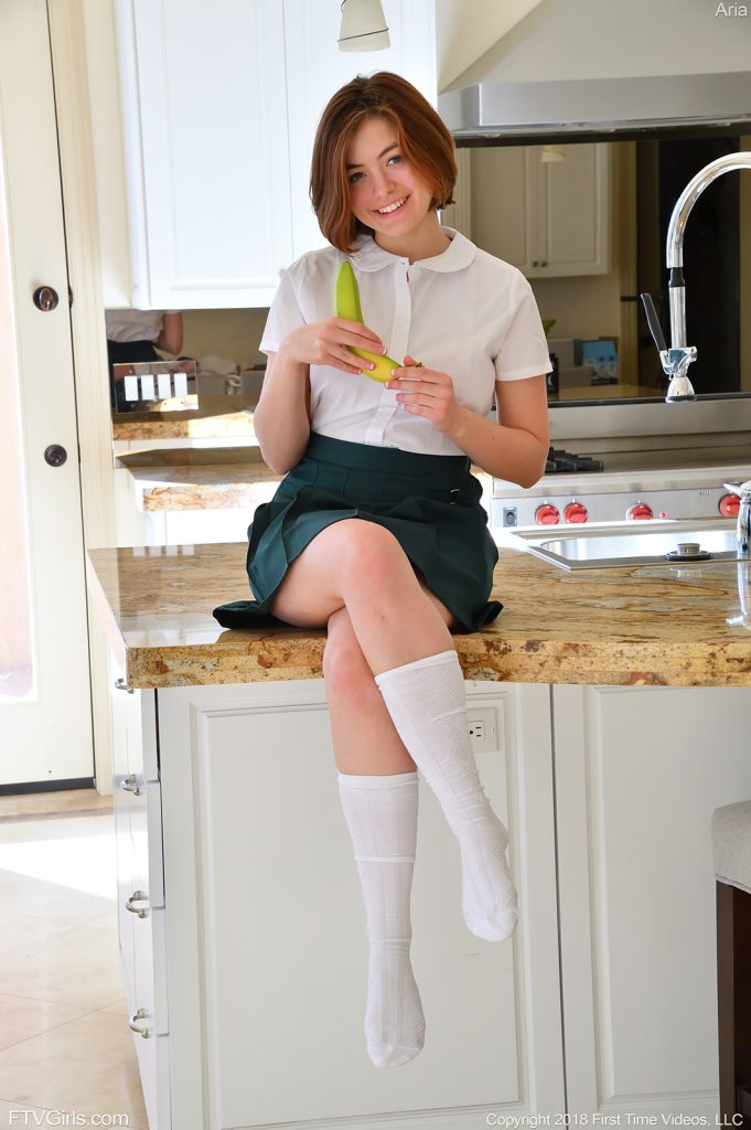 innocent 18 year old in cute school uniform