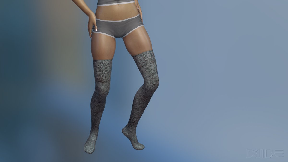 legs of girl wearing grey over knee socks and panties