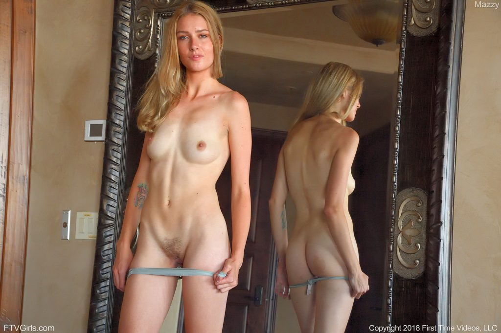 beautiful nubile girl naked with mirror reflection