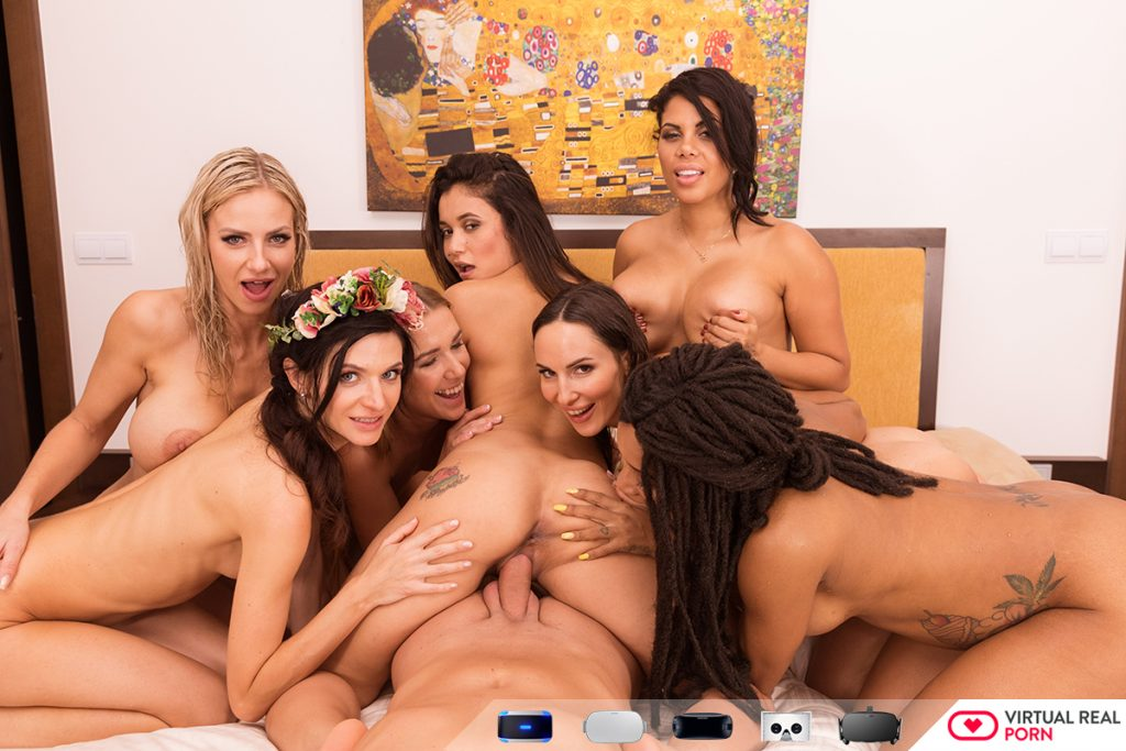 eight naked girls sucking one cock and licking each other
