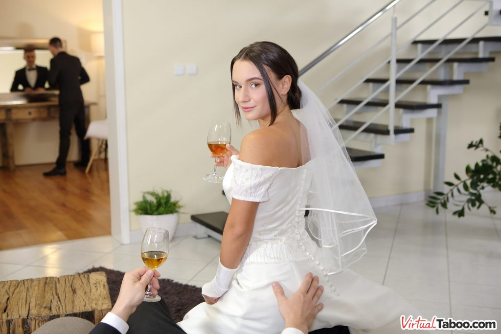 naughty bride getting touched on the ass by her new father-in-law