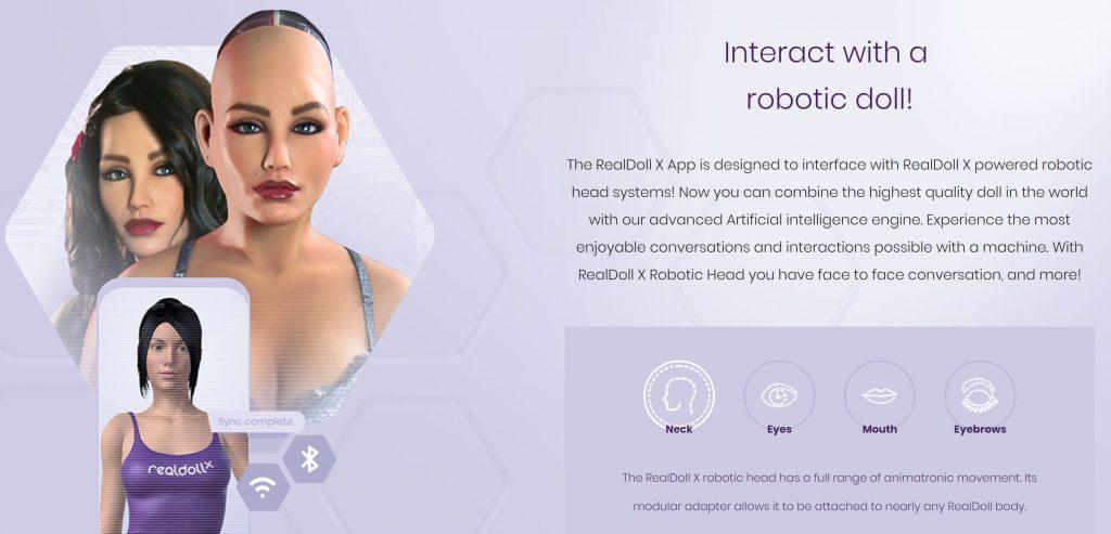 RealDoll X robot head app