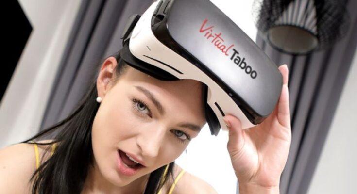 woman watching VR porn (VirtualTaboo)