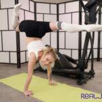 Russian gymnast Alexa Flexy teasing on gym mat