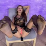 Talia Mint sexy nylons and feet masturbating her pussy with dildo