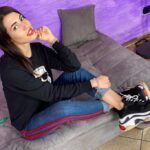 Italian amateur girl Petra in sneakes and black socks