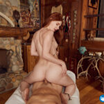 beautiful young redhead girl reverse cowgirl VR sex